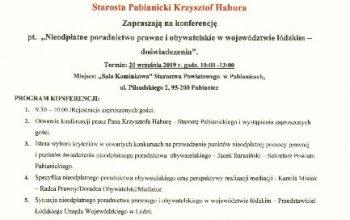 """(Polski) KONFERENCJA """"NIEODPŁATNE PORADNICTWO PRAWNE I OBYWATELSKIE W WOJEWÓDZTWIE ŁÓDZKIM – DOŚWIADCZENIA"""" – PABIANICE, 20 WRZESIEŃ 2019 R."""
