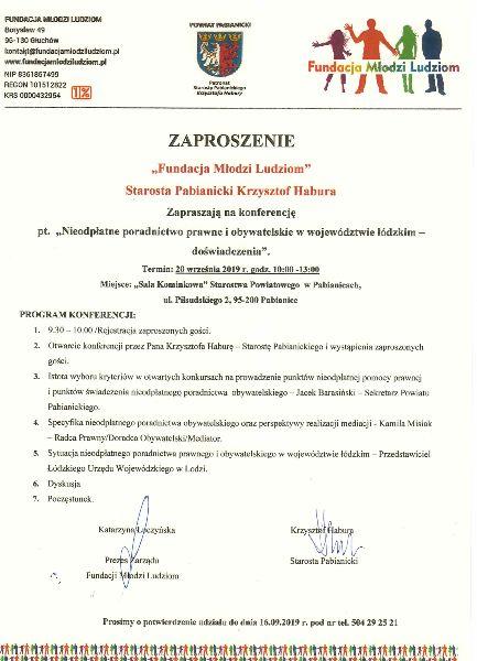 """KONFERENCJA """"NIEODPŁATNE PORADNICTWO PRAWNE I OBYWATELSKIE W WOJEWÓDZTWIE ŁÓDZKIM – DOŚWIADCZENIA"""" – PABIANICE, 20 WRZESIEŃ 2019 R."""
